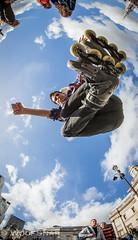 German, Trafalgar Square (WoofSnap) Tags: london square jump gallery extreme skating trafalgar fisheye national rollerblading rollerblades