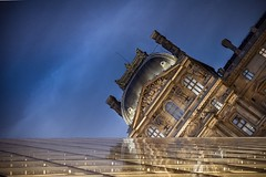 Sinking Louvre (hebiflux) Tags: old sky paris reflection horizontal architecture night mirror pyramid louvre 500px ifttt