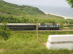 The road from Wonsan to Mt Kumgang. (Clay Gilliland) Tags: beach electric tour north railway korea locomotive seacoast northkorea dprk northkoreatour youngpioneertours dprktour
