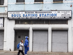 they  couldn't help me.  lost soul. (j-No) Tags: black building church station sign architecture harlem religion christian neighborhood soul signage africanamerican saving fundamentalist ethnic protestant disappearing