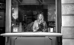 Trip Advisor (losicar) Tags: street bw woman monochrome look bar reflections ipod wine candid stern tripadvisor sternlook