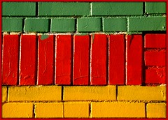 Fenkell Road Storefront: Painted Brick--Detroit MI (pinehurst19475) Tags: city red abstract color building brick green yellow wall colorful detroit colourful brickwork paintedbrick flickrexplore fenkell fenkellroad