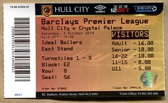 Hull City v Crystal Palace match ticket (2014) (The Wright Archive) Tags: city football october crystal 04 saturday ticket palace v tigers match hull premier league 2014