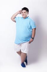 เสื้อโปโลลายขวางผุ้ชายอ้วนสีฟ้า