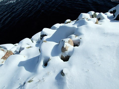 """Snowy Rocks by Shore • <a style=""""font-size:0.8em;"""" href=""""http://www.flickr.com/photos/34843984@N07/15425012745/"""" target=""""_blank"""">View on Flickr</a>"""