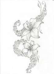(KatharineFraser) Tags: flowers floral tattoo illustration pencil ink design sketch lily graphic drawing nuts lilies bolts lillies cogs mechanics