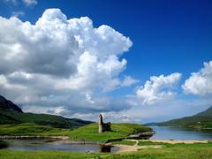 Scottish scenery (PeterCH51) Tags: uk blue sky white lake castle clouds landscape scotland scenery scottish gb ullapool ardvreckcastle lochassynt inchnadamph peterch51