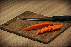 Slice 'n' Dice (Adam Halstead) Tags: stilllife vegetables display board knife slice carrot chopping canoneos550d 100mmmacrof28lislens 430exiispeedliteflash