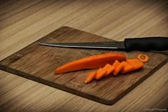 Slice 'n' Dice (Adam Halstead) Tags: stilllife vegetables display board knife slice carrot chopping canoneos550d 100mmmacrof28lislens 430exiispeedliteflash