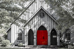 old church with red door (Colton Tarrer) Tags: street door new trees houses red people house signs brick mill love church beautiful stone canon buildings river fun outside 50mm cool interesting bokeh tag broadway bridges 63 millstone 28 walls 80 t3i 18mm streetphotograpy
