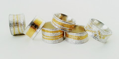 Silver and gold Keum boo rings (Rebecca Geoffrey) Tags: silver gold handmade jewelry boo jewellery bracelet cuff keum rebeccageoffrey