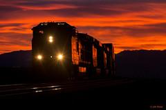 Red Skies at Night (thechief500) Tags: railroad sunset arizona train desert az bnsf glint antares seligmansubdivision glintandlowlight