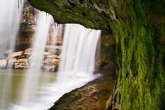 Beneath Cataract Falls (Kenneth Keifer) Tags: statepark longexposure motion blur rock waterfall moss whitewater under indiana blurred falls upper ledge cave flowing behind underneath beneath cataract overhang millcreek lieber staterecreationarea