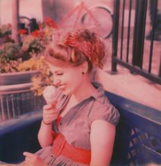 (Aubry Aragon) Tags: film girl sx70 denver tip icecream laugh rockabilly instant polaroidweek colorshade theimpossibleproject polaroidweek2014 roodweek roidweek2014