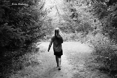 Into the Woods (holmzie327) Tags: trees people bw white black green girl shirt forest canon hair walking person woods dress jean image walk picture meadow wave running balck converse canoneosrebel canoncamera