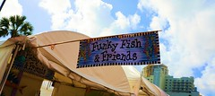FUNKY FISH & FRIENDS (Andy Arecco) Tags: las blue friends sky fish art sign festival closeup booth artistic funky tent lauderdale signage ft olas christmasandnewyearsflorida