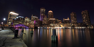 Night View of Boston Water Front