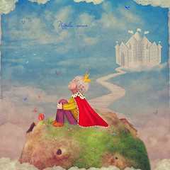 The Little Prince  on a planet  in beautiful  sky ,illustration art (marozn) Tags: sky art illustrate fantasy idea background illustration cartoon kid child children small cheerful childhood happiness young little prince baby birthday emotions queen crown royal infant planet rose day space flower story flying smiling happy character fairy fairytale grass alone one asteroid male adorable clouds castle house stairs steps bridge