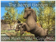 The Secret Garden (Krystali Rabeni) Tags: garden home secretgarden magic house mesh 3d model unicorn flowers plants pond fountain wall