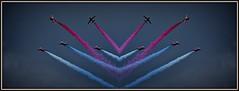 Reflected Reds (Steve.T.) Tags: redarrows reflection reflected mirrorimage riat16 riat airdisplay aerobatics aviationphotography aviation airshow raffairford smoketrail smoke nikon d7200 sigma70300 raf gloucestershire flying aeroplane airplane symmetry