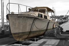 Miss Elaineous (votsek) Tags: 2016 boat slidersunday harbor gloucester drydock ocean nikond200 selectivecolor fieldblur photoshop