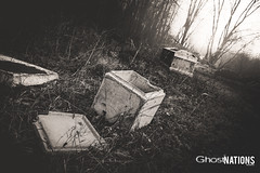 Empty Caskets (Ghost Of Nations Photography And Digital Art) Tags: ghostofnationsphotography ghostofnations liminal blackandwhite bw disquiet disturbing cemetery cemeteries woods dark gothic newgothic neogothic death vaults