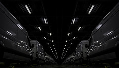 Hells Ferry (a.lee.miller) Tags: ifttt 500px ferry endless abstract fake symetry lights illumination artifitial symmetry vans city transportation system tunnel urban dark light monochrome perspective architecture