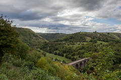 Monsal Head (Katy Eyre) Tags: peak district uk trees national park derbyshire bakewell bridge nature waterfall sign river plants sky clouds stone leaves water
