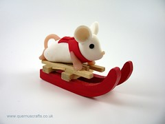 Little Sledging Mouse (QuernusCrafts) Tags: polymerclay quernuscrafts cute mouse sledge sledging scarf