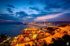 The magic bridge (TungShing) Tags: magichour    hk hongkong     tsingyi tsingma magic goldenhour  wideangle bluehour landscape  scenery evening nightview sea night sunset