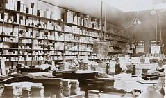 INTERIOR OF DRAPER'S SHOP, ARGENT STREET, BROKEN HILL, QLD - 1908 (Aussie~mobs) Tags: 1908 brokenhill drapery australia vintage interior stop shelves fabric wool