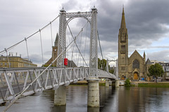 Inverness Pedestrian Suspension Bridge (Kev Gregory (General)) Tags: footbridge over river ness inverness scottish highlands suspension bridge crosses linking huntly street west bank east spires various churches including old high st stephens church free marys catholic tourist attractions city andrews cathedral further upriver scotland kev gregory canon 7d