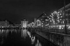Zrich (morten f) Tags: zrich zurich sveits switzerland river elv night dark winter 2016 lights street photography europe exposure water city reflection