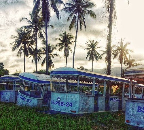 "The ""graveyard"" of Bangkok Airways people movers at Samui International Airport, USM. #Thailand #kohsamui #samui #samuiairport #palm #coconut #bus @islandinfosamui"