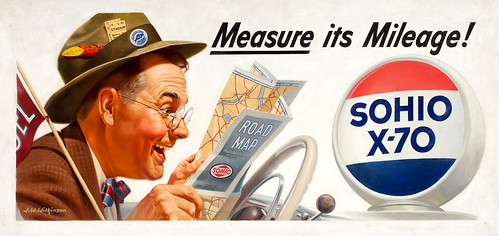 Measure its Mileage! Sohio billboard advertisement by J. Walter Wilkinson