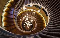 The Life Within - Explored (DobingDesign) Tags: cecilbrewerstaircase london heels interiorarchitecture stairs steps staircase stairway spiral round curve lines lighting perspective vanishingpoint shop departmentstore magnificent artinstallation curl wave indoor circle circular wood woodpanelling lights illuminated lookingdown retail