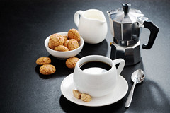 cup of coffee, cream and cookies (cook_inspire) Tags: breakfast coffee beverage drink cookie aroma eating fresh morning biscuit break biscotti amaretti brewed sweet dessert delicious caffeine diet food cup italian cafe meal almond pastry white gourmet black traditional espresso tasty healthy pour cuisine sugar machine maker making background nutrition health cream