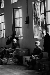 Young monks in monastery (feijeriemersma) Tags: myanmar burma birma monk monks boy boys young children religion buddhism yangon rangoon asia asian spartan life bw black white buddha culture cultural countru
