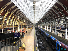 Mind The Gap (Rob McC) Tags: tfl heathrowexpresscarriages train station paddington architecture victorian arches tracks symmetry sunlight perspective transport historic ironbeam mindthegap platform