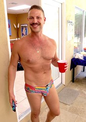IMG_9954 (danimaniacs) Tags: party shirtless man guy hot mansolo hunk smile fun beard scruff swimsuit bulge trunks