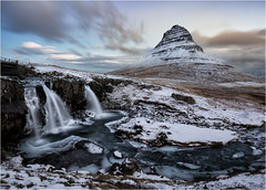 Kirkjufell and Kirkjufellsfoss - Iceland (Elanor82) Tags: canon eos 5d mark iii mrk3 mk3 1635 usm is iceland island islanda kirkjufell kirkjufellsfoss mountain montagna cascate waterfall panorama landscape sunset tramonto colours colori natura nature priroda