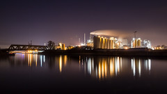 Cargill factory in Haubourdin (julien Mnr) Tags: cargill factory usine haubourdin nord france canon eos 700d very long exposure pose longue reflet reflexion lumire light smoke fume water eau night nuit nd filter filtre nd64 hoya 18135mm bridge pont fireplace chemine front de mer extrieur jete art nature river rivire deule reflect reflection