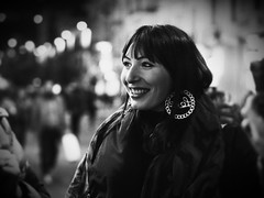 The moments of love making memories ... (Lucio Busa) Tags: black white rosaria olympus pen f zuiko 45 mm f18 bokeh night photography streetphotography street lights bubble smile girl beauty
