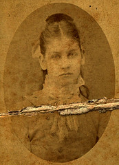 Texas Girl (~ Lone Wadi Archives ~) Tags: texas texan cartedevisite cdv portrait lostphoto foundphoto mysterious unknown retro 1860s 19thcentury victorian damaged