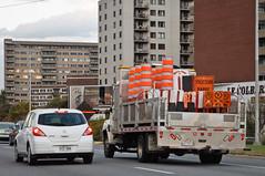 A Truckload of Frustration (caribb) Tags: city urban canada construction montréal quebec montreal québec misery cones detours deliverytruck 2014 orangecones roadblocks citytruck c365