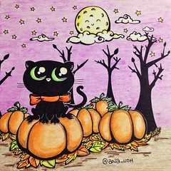 Día 3. #thedrawinggames #gorectober #inktober #blackcat #halloween#autumn #pumpkins (aNa_ush) Tags: autumn sky orange moon black tree cute halloween night cat pumpkin noche leaf purple luna gato bosque calabaza iphoneography instagramapp