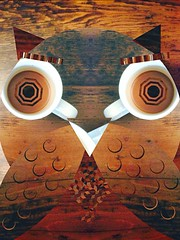Coffee eyed owl (dylan_horst) Tags: wood brown white eye cup coffee table wings cartoon feather owl mug edit uploaded:by=flickrmobile flickriosapp:filter=nofilter