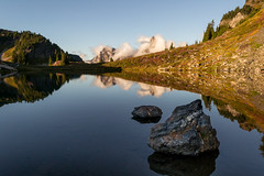 Doubles (zh3nya) Tags: sunset mountains reflection water landscape outdoors washington pond hiking kitlens pacificnorthwest wa tarn pnw goldenhour northcascades yellowasterbutte 1855mmf3556