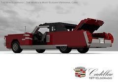 Cadillac Eldorado 1971 (lego911) Tags: auto birthday usa classic hardtop car america 1971 model lego render 71 cadillac eldorado 70s 1970s pimp 7th coupe challenge v8 cad lugnuts povray 84 pimpmobile moc ldd miniland lego911 super70ssensation lugnutsturns7or49indogyears