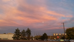 October 6, 2014 - As the moon rises in the east, the setting sun colors the clouds in Northglenn. (ThorntonWeather.com)